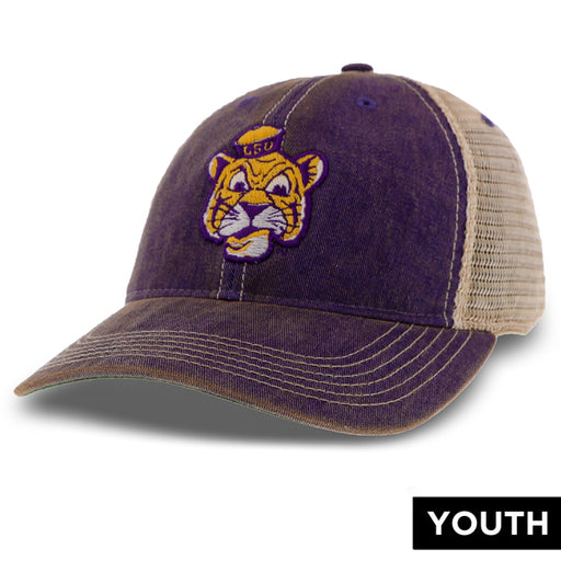 LSU Tigers Legacy Beanie Mike OFA Youth Trucker Hat - Purple