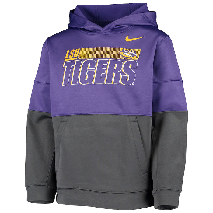 LSU Tigers Nike Colorblock Performance Youth Pullover Hoodie Sweatshirt - Purple