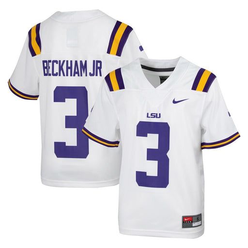 LSU Tigers Nike #3 Odell Beckham Jr. Youth Replica Football Jersey – White