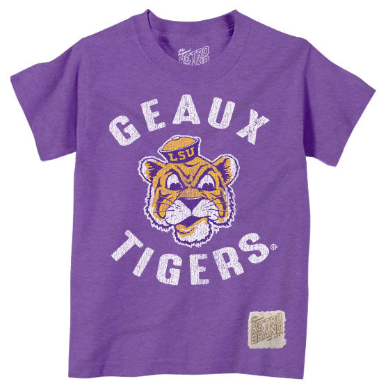 LSU Tigers Retro Brand Beanie Mike Geaux Tigers Toddler / Kids Tri-Blend T-Shirt - Purple