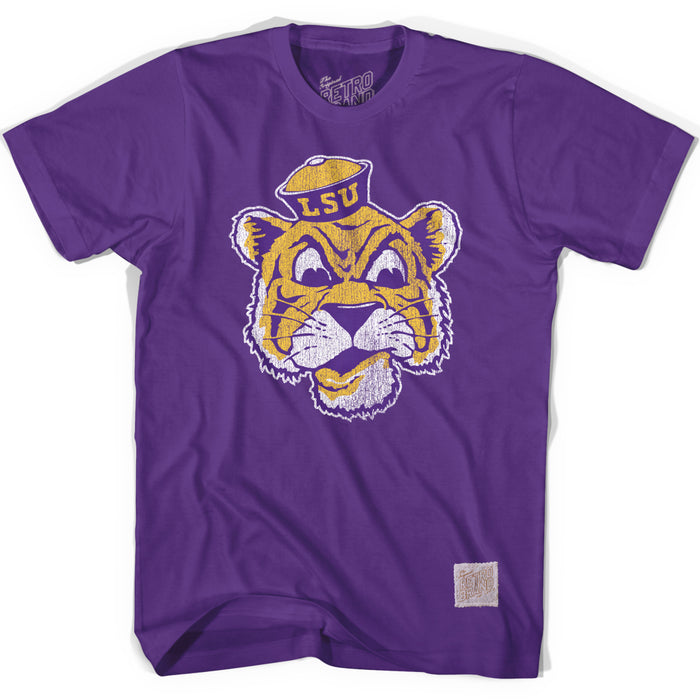 LSU Tigers Retro Brand Beanie Mike Outline T-Shirt - Purple