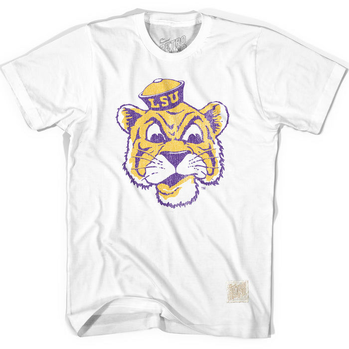 LSU Tigers Retro Brand Beanie Mike Outline T-Shirt - White