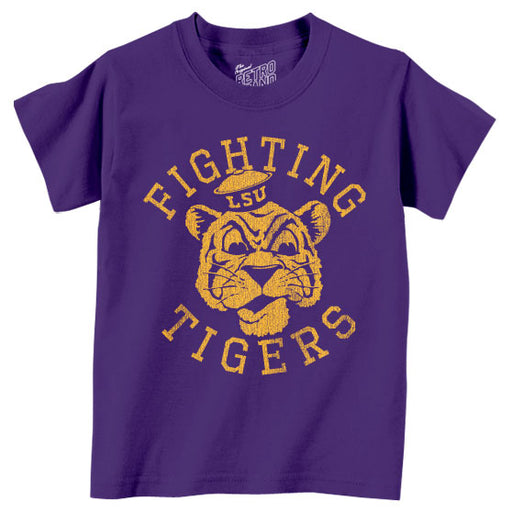 LSU Tigers Retro Brand Beanie Mike Fighing Tigers Toddler T-Shirt - Purple