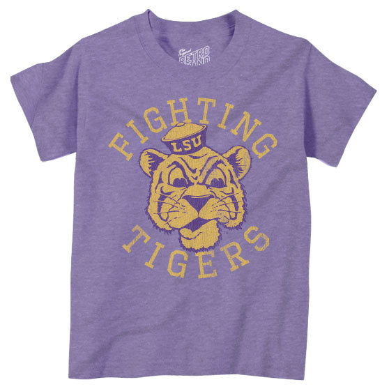 LSU Tigers Retro Brand Beanie Mike Fighting Tigers Infant / Toddler / Kids Tri-Blend T-Shirt - Purple