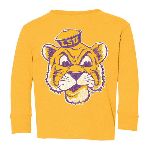 LSU Tigers Retro Brand Beanie Mike Infant / Toddler / Kids Tri-Blend Long Sleeve T-Shirt - Gold