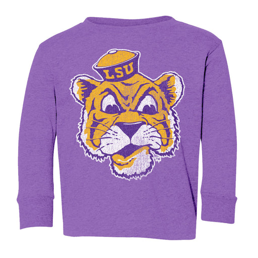 LSU Tigers Retro Brand Beanie Mike Infant / Toddler / Kids Tri-Blend Long Sleeve T-Shirt - Purple