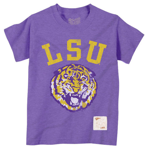 LSU Tigers Retro Brand Round Vault Tiger Arch Toddler / Kids T-Shirt - Purple Tri-Blend