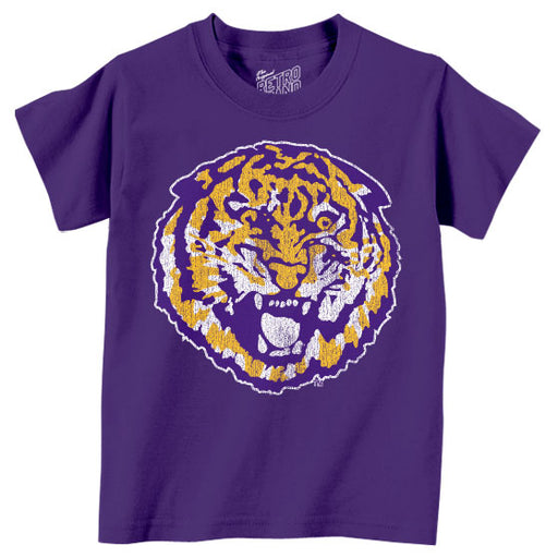 LSU Tigers Retro Brand Round Vault Tiger Toddler / Kids T-Shirt - Purple