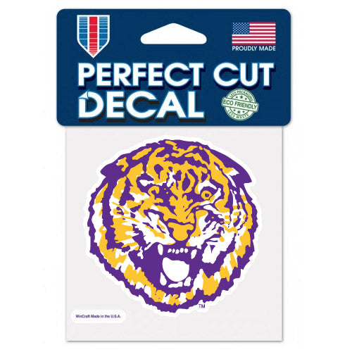 "LSU Tigers Retro Round Vault Tiger 4""x 4"" Perfect Cut Decal"