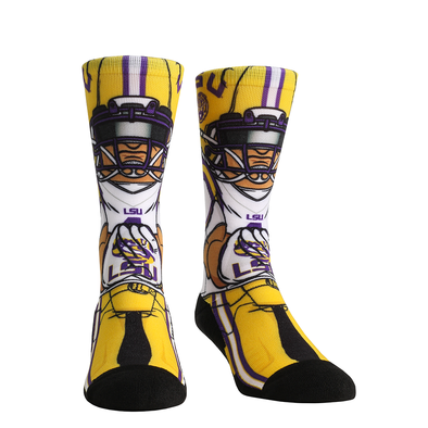 LSU Tigers Rock 'Em Flat Knit HyperOptic Player Crew Socks