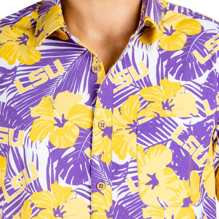 LSU Tigers Tellum + Chop Hibiscus Hawaiian Camp Shirt - Purple / Gold