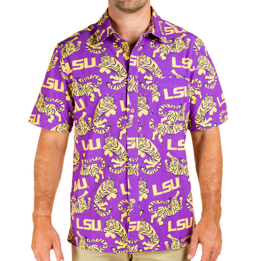 LSU Tigers Tellum + Chop Tiger Hawaiian Camp Shirt - Purple / Gold