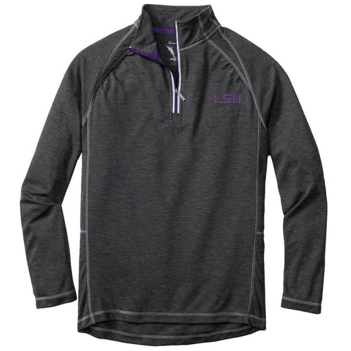 LSU Tigers Tommy Bahama Firewall Core Half Zip Pullover - Charcoal