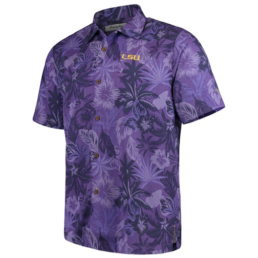 LSU Tigers Tommy Bahama Fuego Floral Hawaiian Shirt - Purple