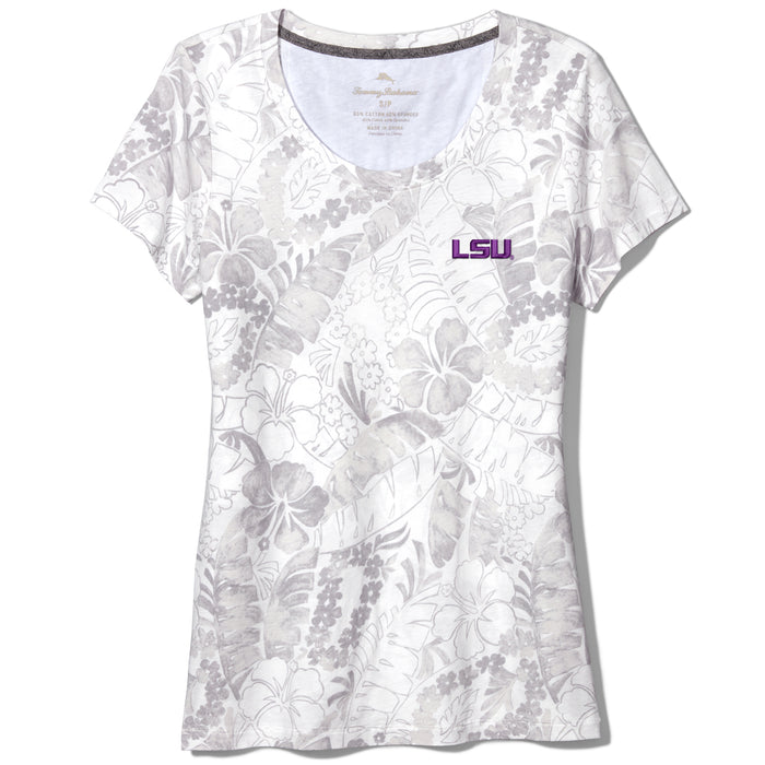 LSU Tigers Tommy Bahama Women's Peeky Seaport Pattern T-Shirt – White