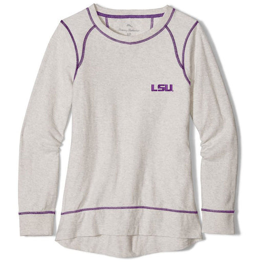 LSU Tigers Tommy Bahama Women's Seashore Long Sleeve Slub Pullover – White
