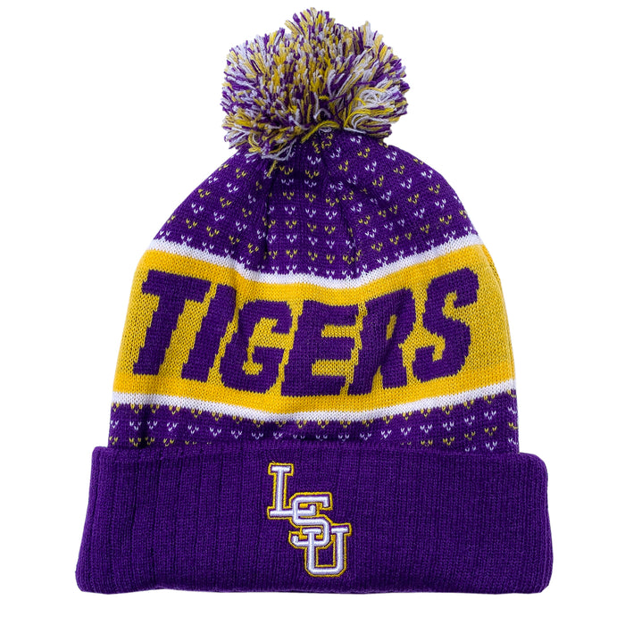 LSU Tigers Top Of The World Expanse Cuffed Knit With Pom - Purple