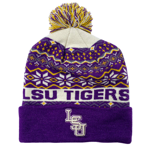 LSU Tigers Top Of The World Frosted Cuffed Knit With Pom - Purple