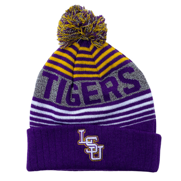 LSU Tigers Top Of The World Overt Cuffed Knit With Pom - Purple