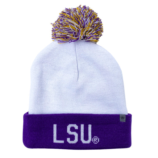 LSU Tigers Top Of The World Void Cuffed Knit With Pom - White