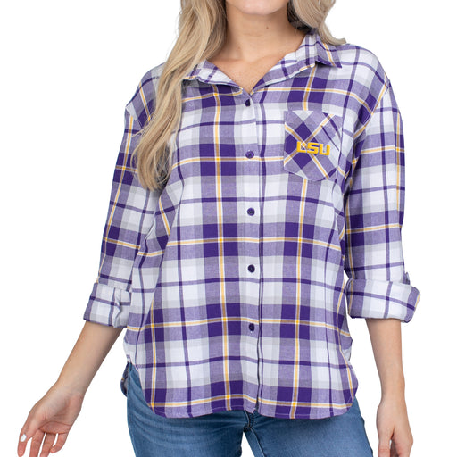 LSU Tigers UG Apparel Boyfriend Plaid Long Sleeve Top