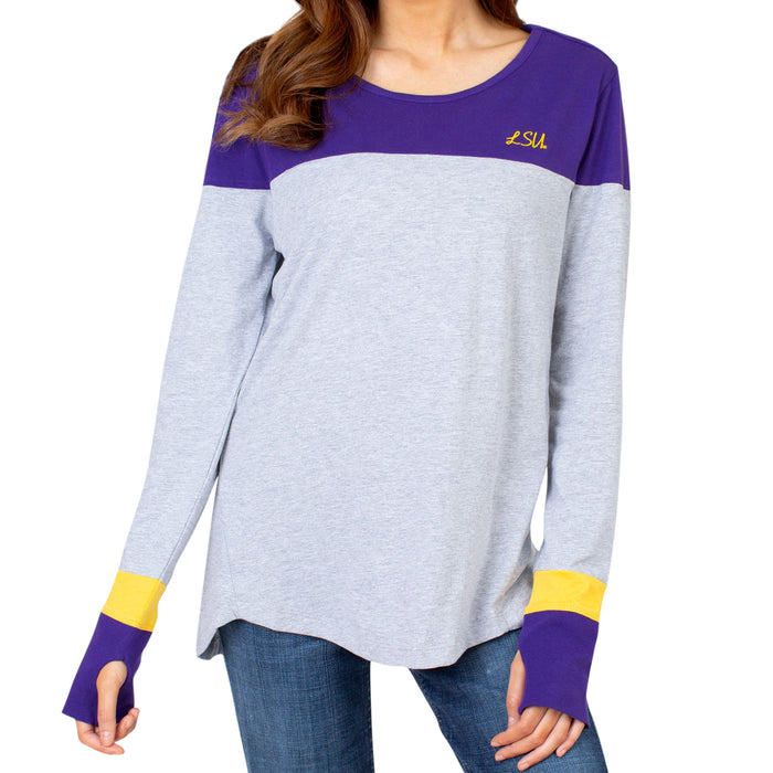 LSU Tigers UG Apparel Color Block Long Sleeve T-Shirt