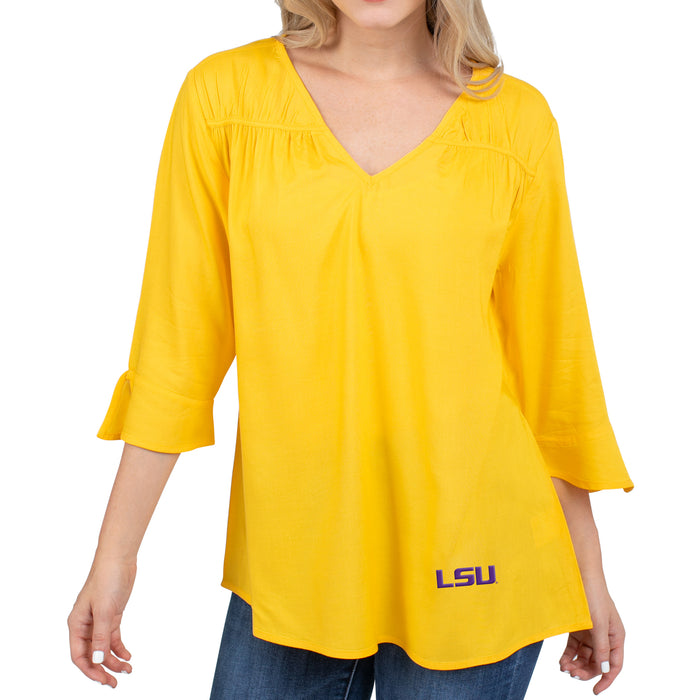 LSU Tigers UG Apparel Flared Long Sleeve Top - Gold