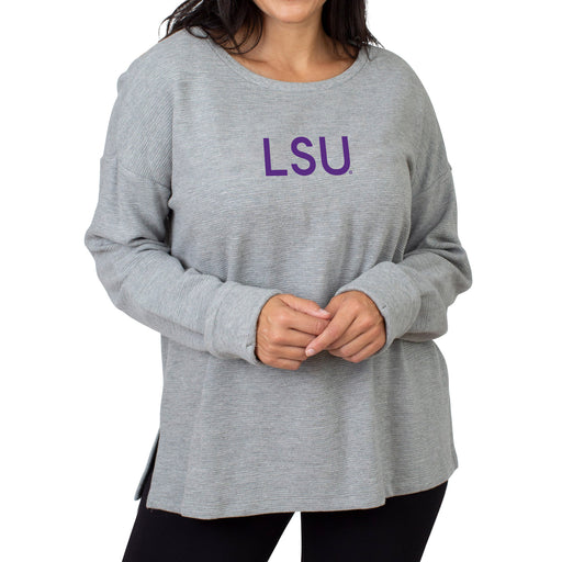LSU Tigers UG Apparel Ribbed Pullover - Grey