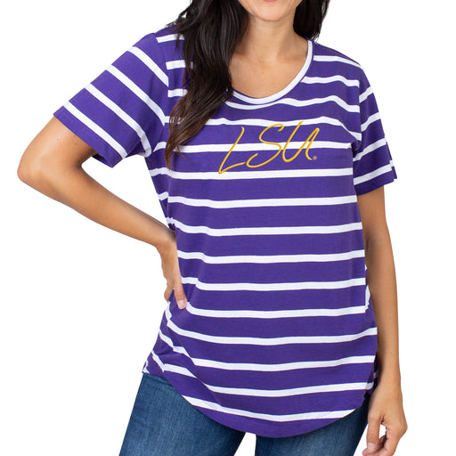 LSU Tigers UG Apparel Striped Sweet Tee - Purple