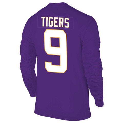 LSU Tigers Victory 2019 National Champions #9 Football Jersey Long Sleeve T-Shirt - Purple