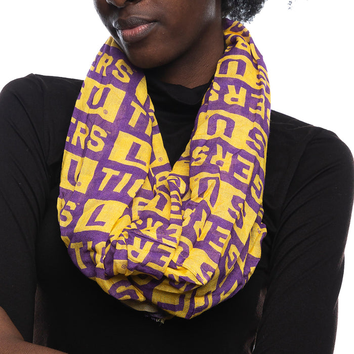 LSU Tigers ZooZatz Block Pattern Infinity Scarf - Purple