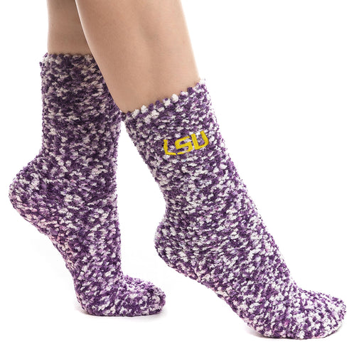 LSU Tigers ZooZatz Fuzzy Marbled Gripper Socks - Purple