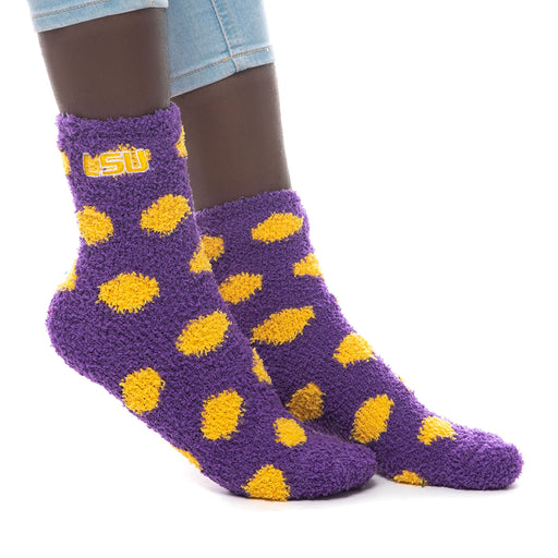 LSU Tigers ZooZatz Fuzzy Polka Dot Socks - Purple