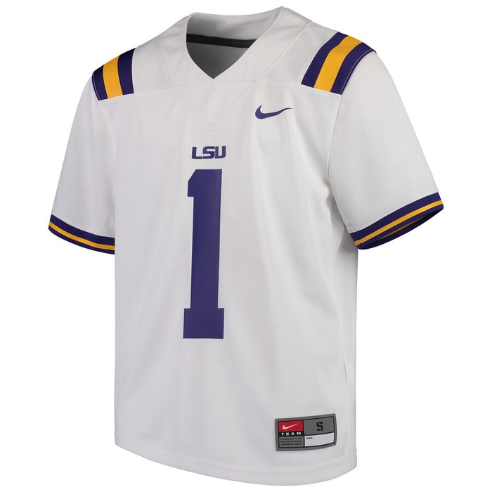 LSU Tigers Nike #1 Kids / Youth Team Replica Football Jersey – White