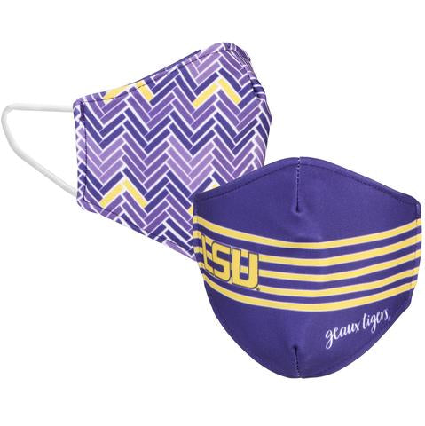 LSU Tigers Desden Reversible Adult Face Mask / Cover - Purple