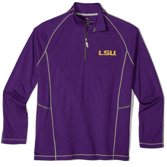 LSU Tigers Tommy Bahama Goal Keeper Half Zip Pullover - Purple