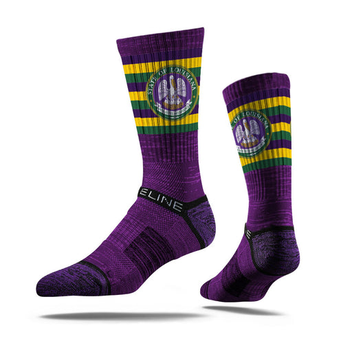 Louisiana Homegrown Mardi Gras Pelican LA Flag Stripe Sock - Purple