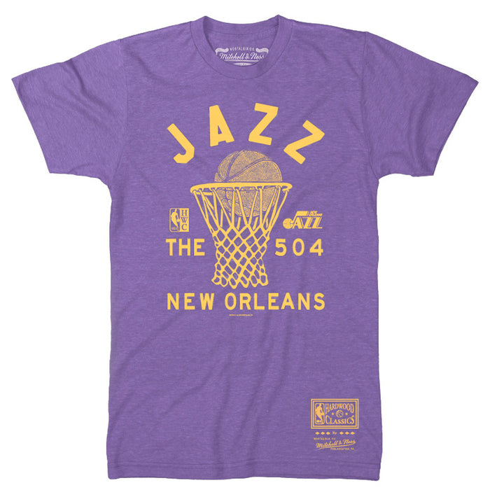 "New Orleans Jazz Mitchell & Ness Hardwood Classics ""The 504"" T-Shirt - Purple"