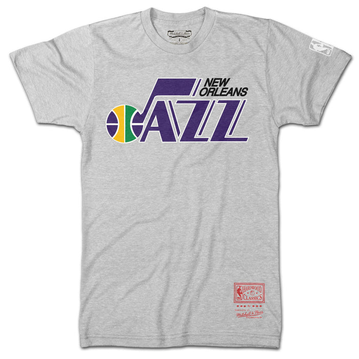 New Orleans Jazz Mitchell & Ness Hardwood Classics T-Shirt - Grey