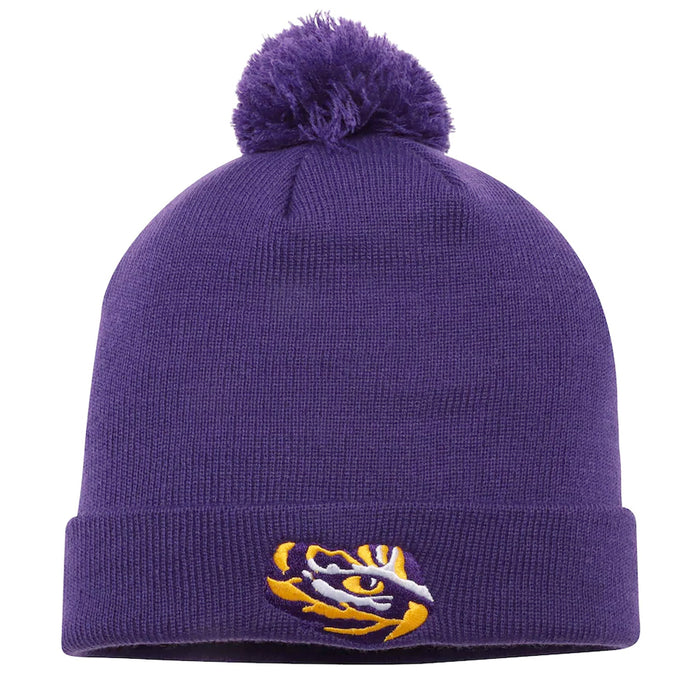 LSU Tigers Top Of The World Simple Cuffed Knit With Pom - Purple