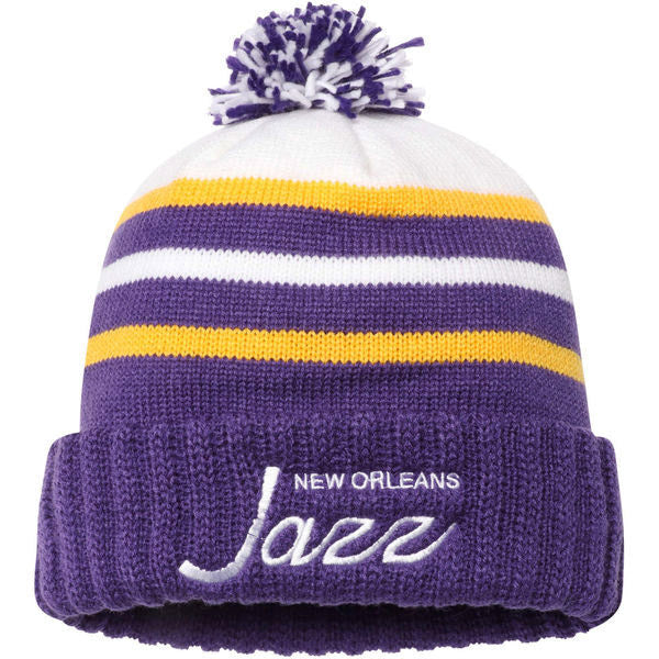 New Orleans Jazz Mitchell & Ness Hardwood Classics Cuffed Knit - Purple