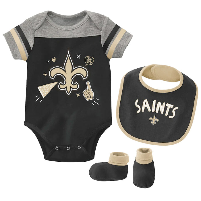 New Orleans Saints Infant Onesie Creeper Bib & Bootie Set