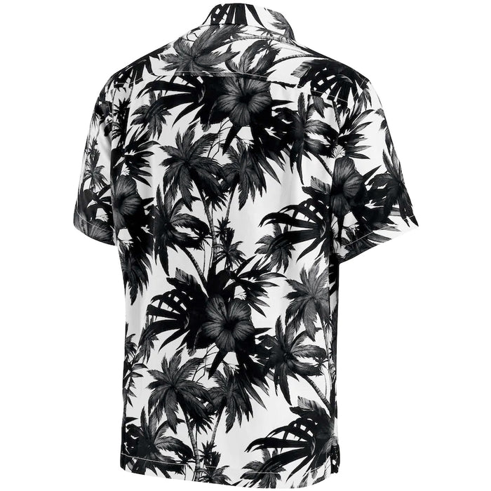 New Orleans Saints Tommy Bahama Harbor Island Hibiscus Silk Hawaiian Camp Shirt