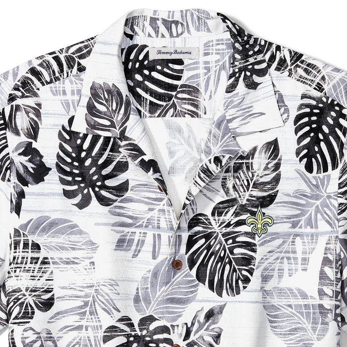 New Orleans Saints Tommy Bahama Sport Super Fan Silk Hawaiian Camp Shirt - White