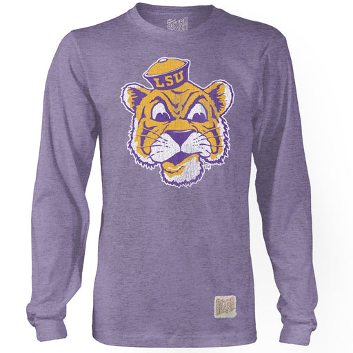 LSU Tigers Retro Brand Beanie Mike Long Sleeve Tri-Blend T-Shirt - Purple