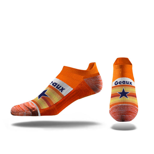 B&B Dry Goods Strideline Geaux Streauxs Star No Show Socks - Orange