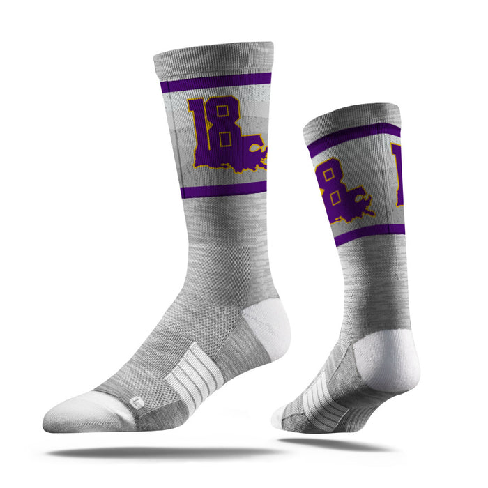 Strideline 'Louisiana 18' Hester Sports Foundation Performance Crew Socks - Grey