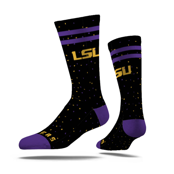 LSU Tigers Strideline Woven Speckle Crew Socks - Black