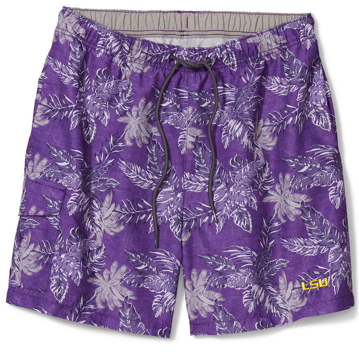 "LSU Tigers Tommy Bahama Core Faded Palms Naples Coast 6"" Swim Short"