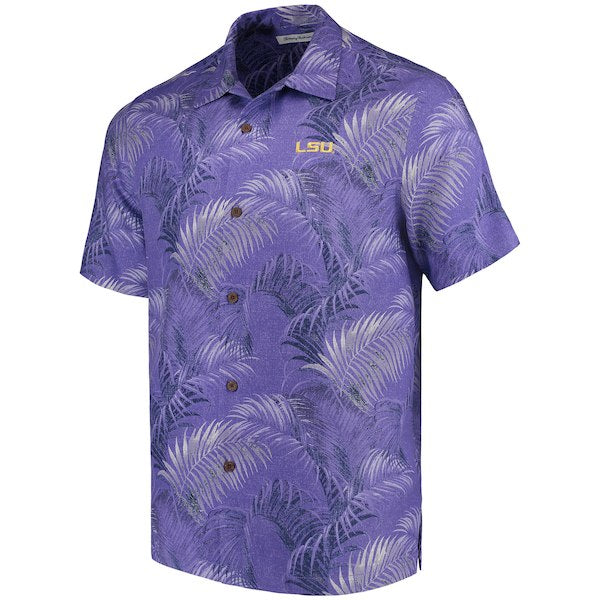 LSU Tigers Tommy Bahama Fez Fronds Hawaiian Camp Shirt - Purple
